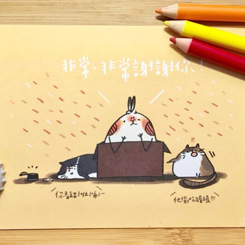 Brush with animal postcard set