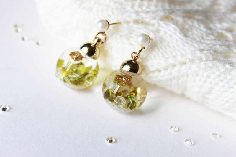 * Rosy Garden * Green crystal flowing inside glass ball earrings