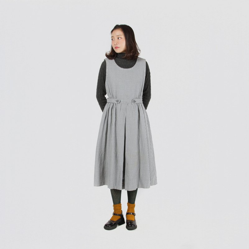 [Egg plant ancient] long and tidy woolen vintage vest dress