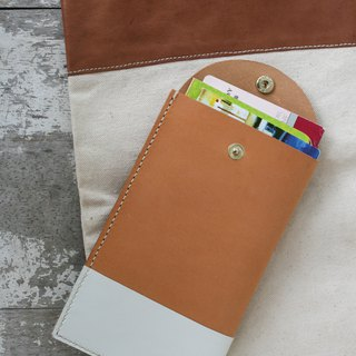 Handmade leather - two-color passbook set cash storage bag / can be engraved English name