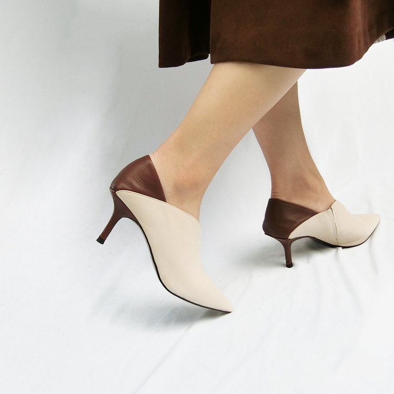 Pointed-toe two-tone leather stiletto heel shoes || Media's secret love letter apricot / coffee || 8273