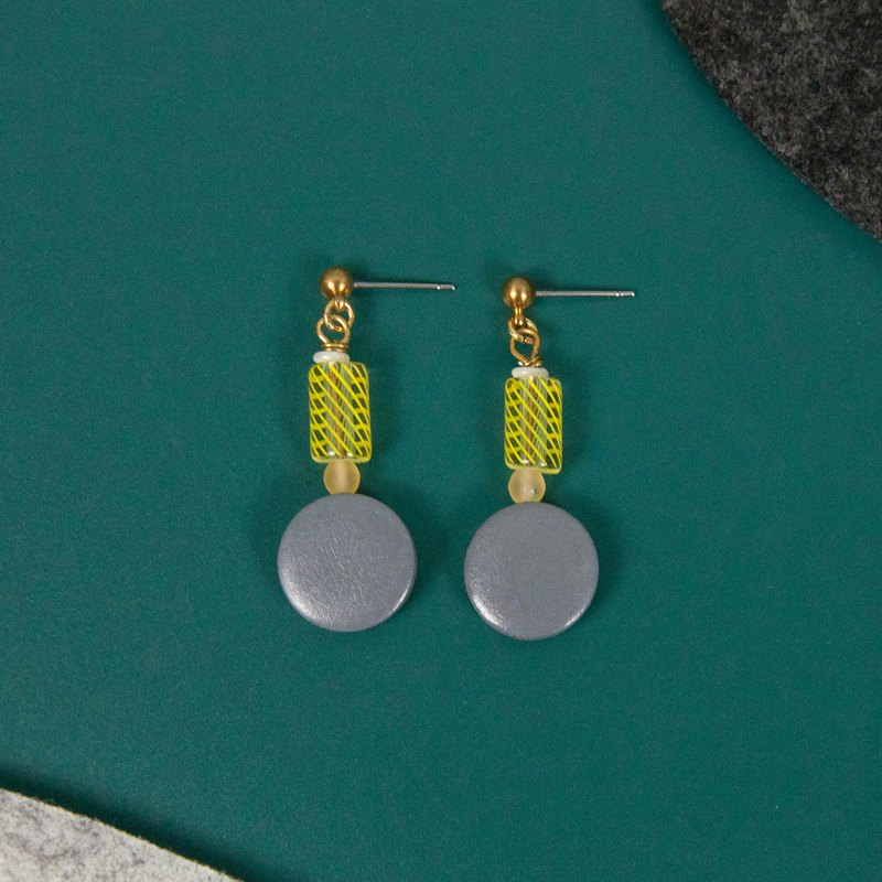 Gray and Yellow Glass Beaded Wood Earrings