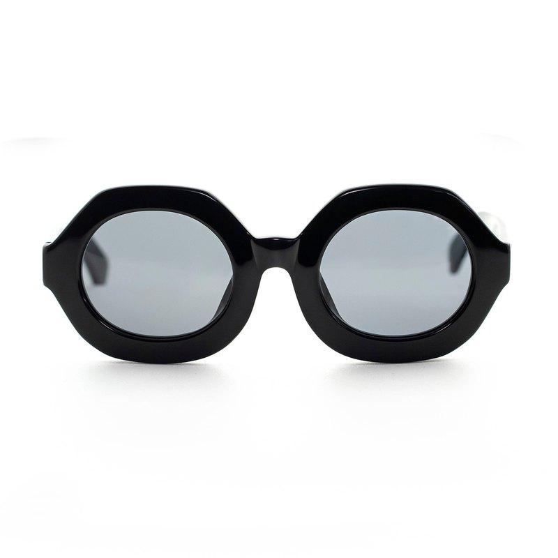 六邊形經典板材墨鏡∣UV400太陽眼鏡-黑色亮面