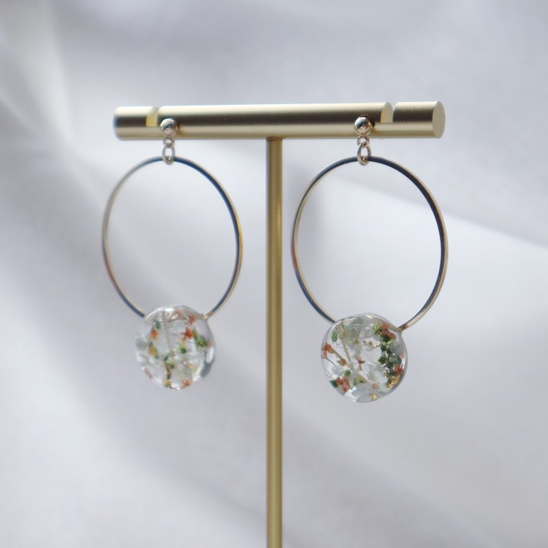 Williow | Orange | Light Pink Blue | Gold Foil | Small Green Grass | Dry Flower Resin Hoop Earrings