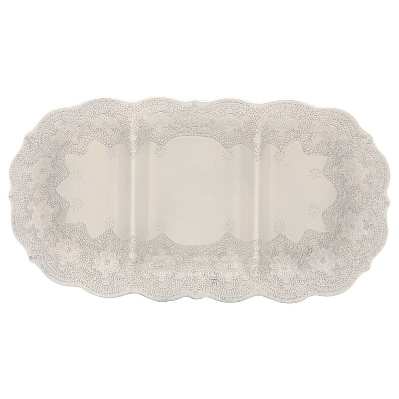 MERLETTO - 40 CM DIVIDED PLATE (CREAM)