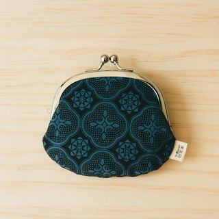 "3.3"" Clasp Frame Bag/Begonia Glass Pattern/Midnight Navy"