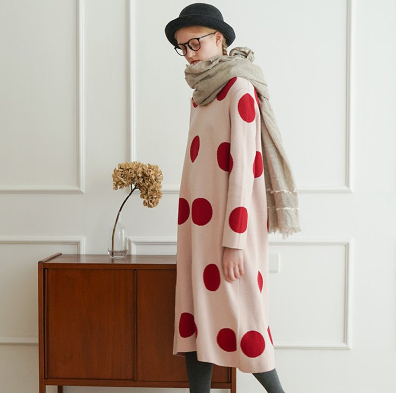 Red dot pink long sleeve dress thick cotton coat - imakokoni