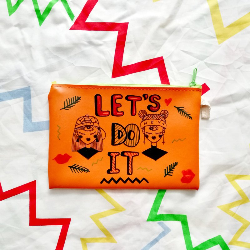 Hand-painted Clutch Bag : LET'S DO IT
