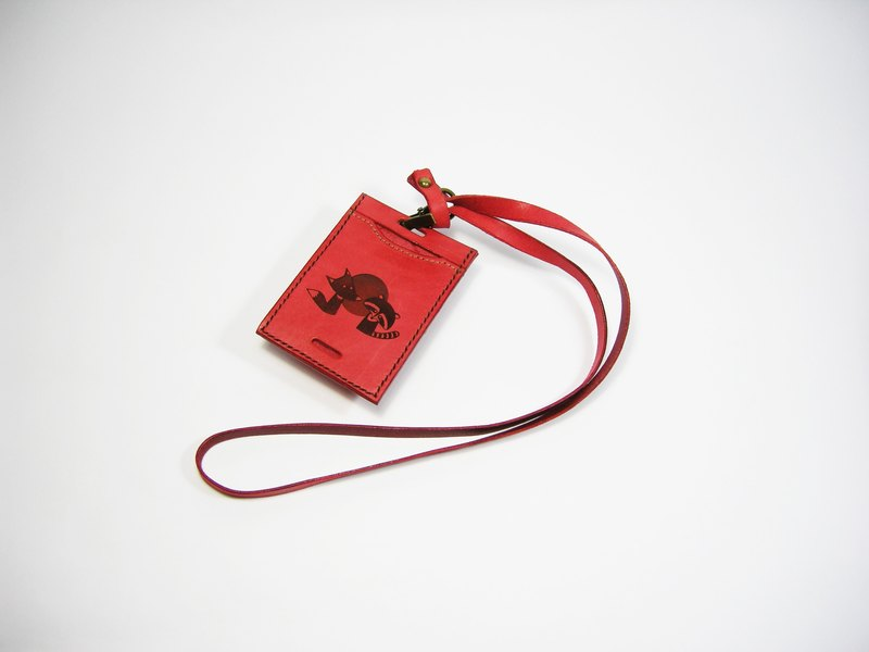 Lei carved leather leisure card, certificate, business card set (red vegetable tanned leather) __ as a hand-made leather gift