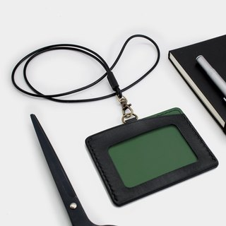 RENEW - Horizontal ID card holder, card holder black + dark green vegetable tanned leather hand-sewn
