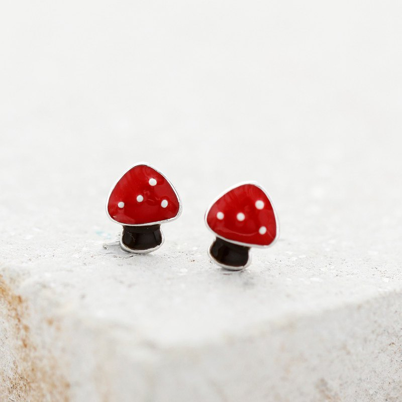 Mushroom Earrings in 925 Sterling Silver, White Gold plating - Red
