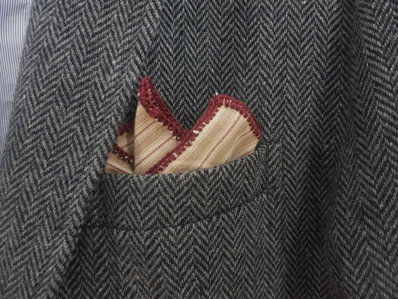 Pocket Square - Stripe Beige with Red Knitted Edge