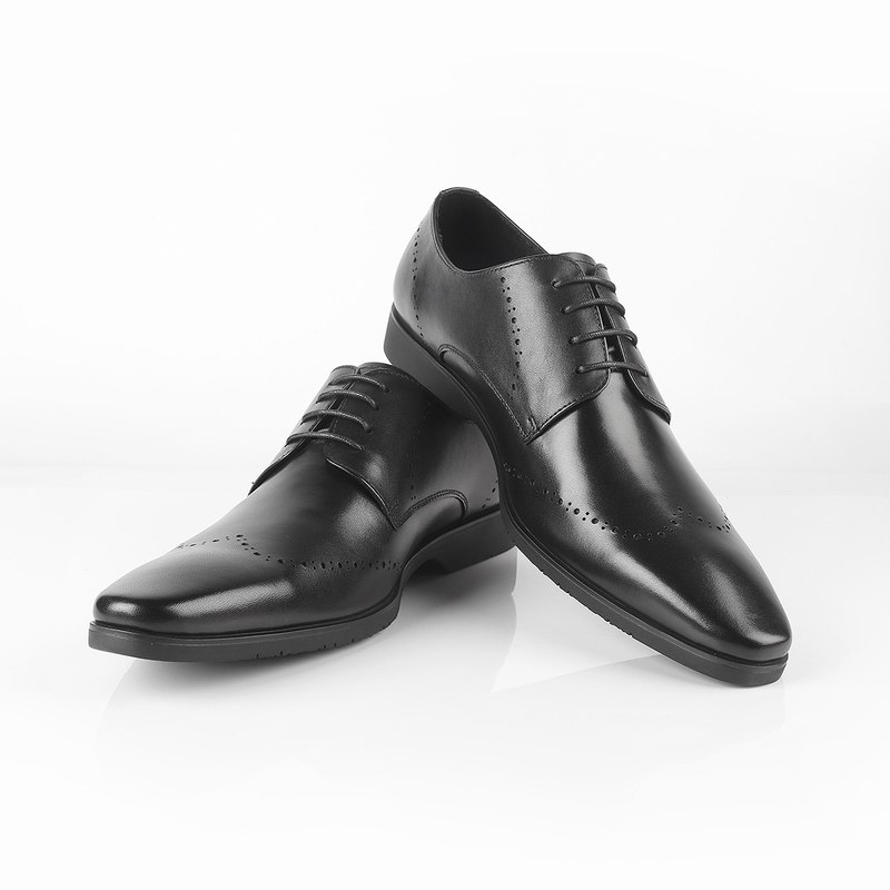 Full leather square carved derby shoes 10044010