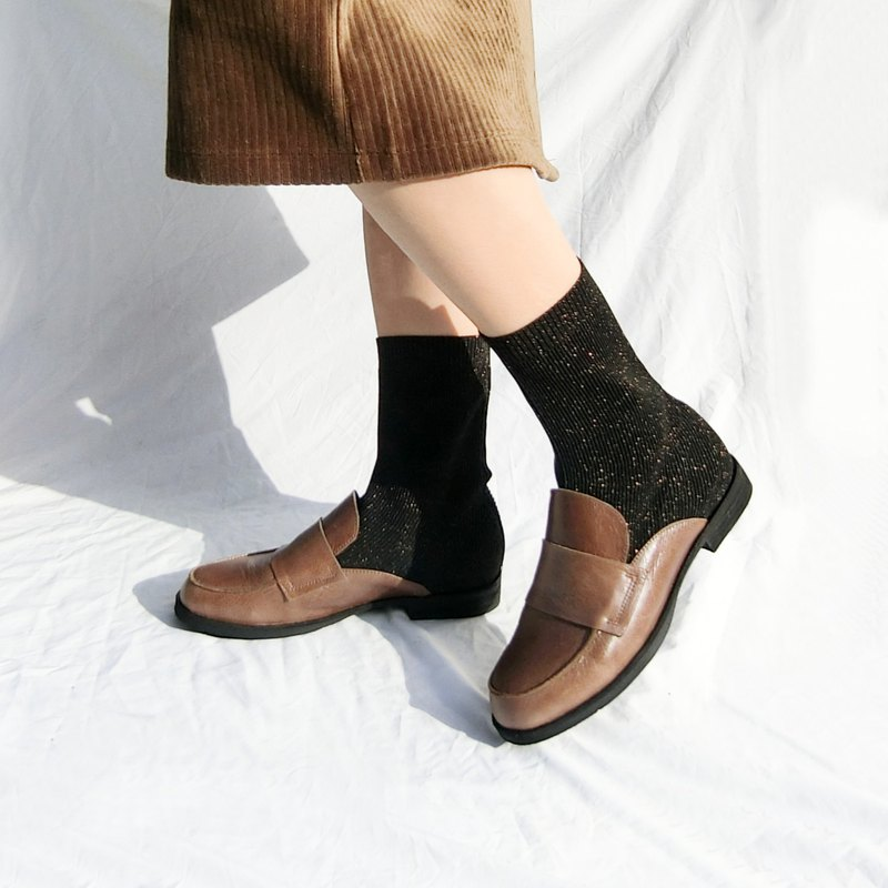 Love Fu leather knitted socks boots || Capri Paradise Paradise Temperament Brown || 8269