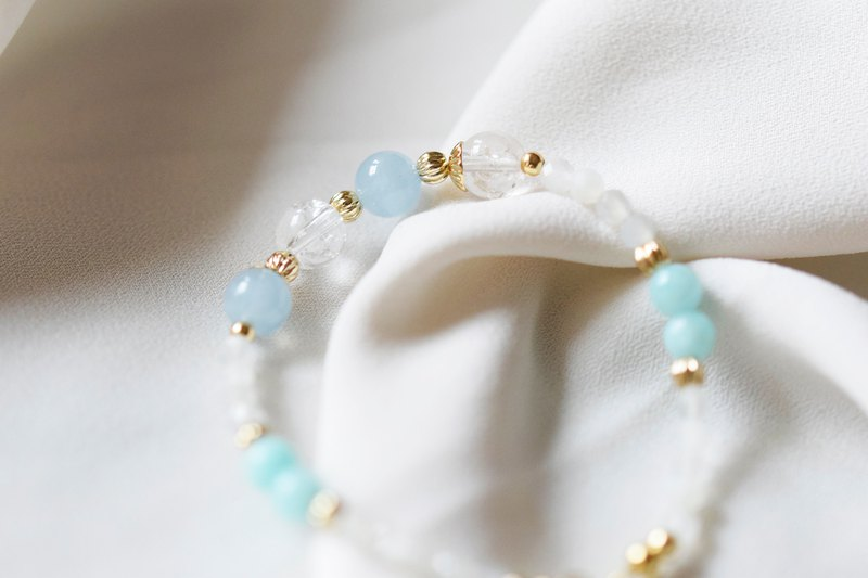 Angel。Aquamarine Amazonite Clear Quartz Natural Stone 14K GP Bracelet