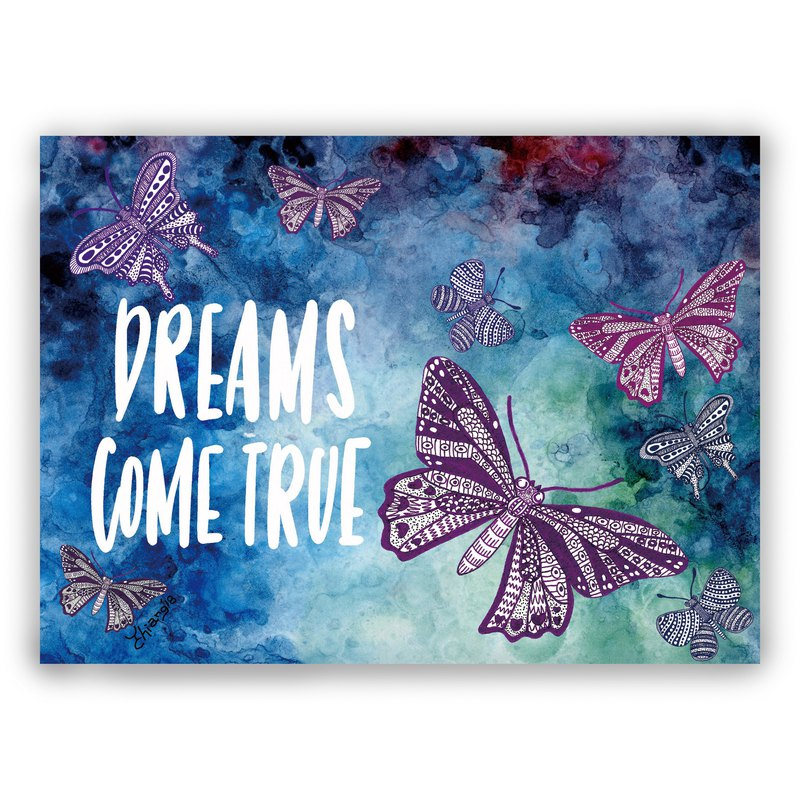 Hand-painted illustration universal card / postcard / card / illustration card - dream come true butterfly flying