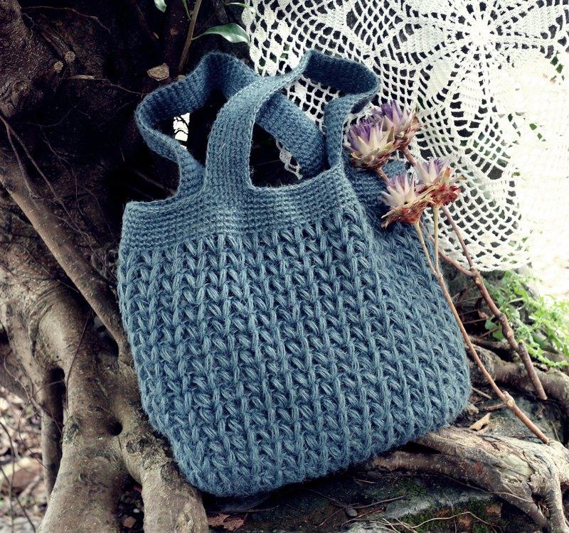 手作-慵懶手提包/麻繩編織包-通勤/書包-溫暖手編織麻繩手提包
