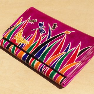 Christmas handmade goat wallet / hand-painted style leather wallet / long wallet - Mongolian steppes fresh color (pink)