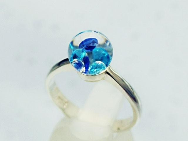 Bijou Glass Ring S Blue