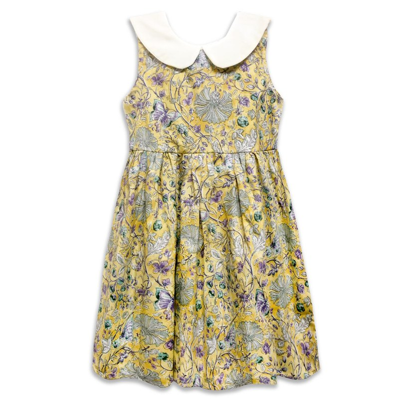 Collar shape sleeveless dress girls dress yellow flowers Yellow Flowers
