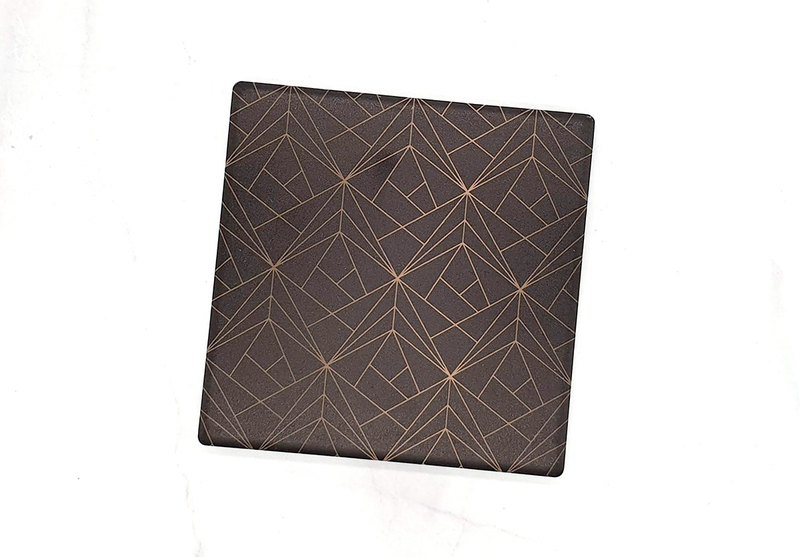 Black gold triangle ceramic water coaster (square)