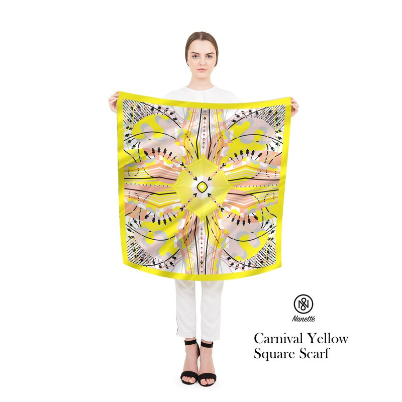 Carnival Yellow Square Scarf (Personalized name)