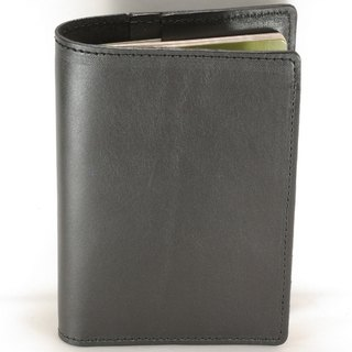 Passport Holder Passport Case Cowhide Leather Leather Dark Black Soft Leather Custom Lettering Service