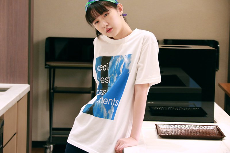 Wide version of the fashion large print white T-shirt white T-shirt autumn debut