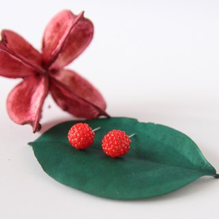 Handmade delicate raspberry earrings - stainless steel studs