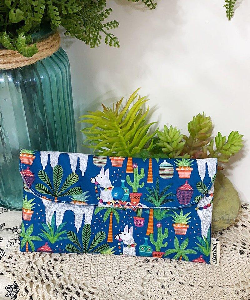 藍色可愛羊駝圖案雙層小收納袋/小卡片包/口罩收纳/零錢包