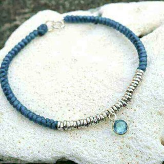 925 Sterling Silver Beaded Bracelet Lucky Bracelet Wax Bracelet Blue Zircon Lake Water Green