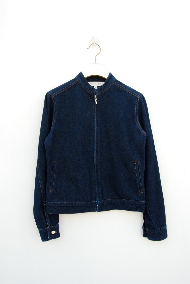 Vintage round neck denim jacket
