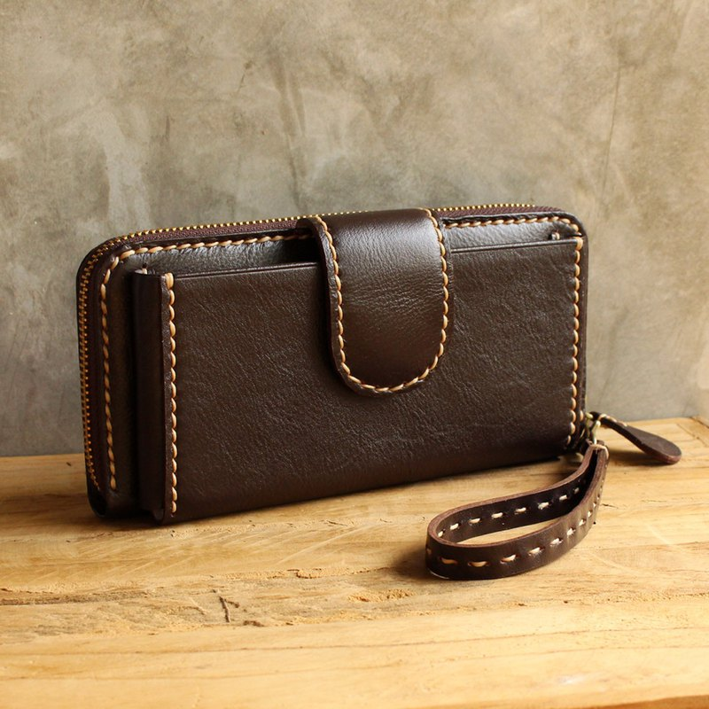 Leather Wallet - Delight - Dark Brown (Genuine Cow Leather) / 皮包 / 钱包 / 长夹