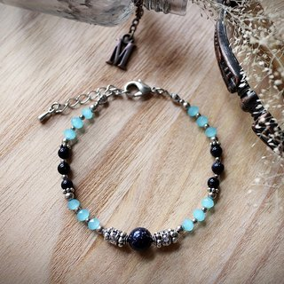 Muse Fashion Series NO.15 Mother's Day natural stone blue sand blue ornate silver bracelet
