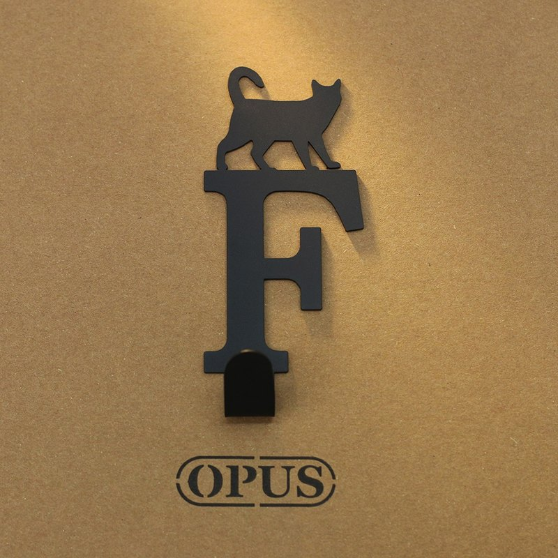 [OPUS Dongqi Metalworking] When the cat encounters the letter F - hook (black) rack / styling hook / no trace