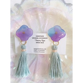 Hand painted watercolor stained flower 漾 series powder and purple 2way ear clip earrings tassel detachable