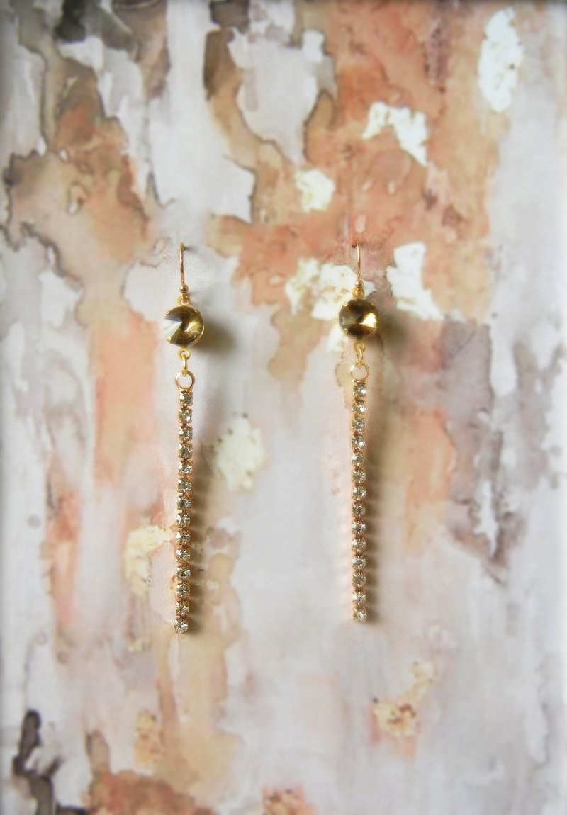 *coucoubird*Dinner - Champagne diamond drop earrings / can change the folder type