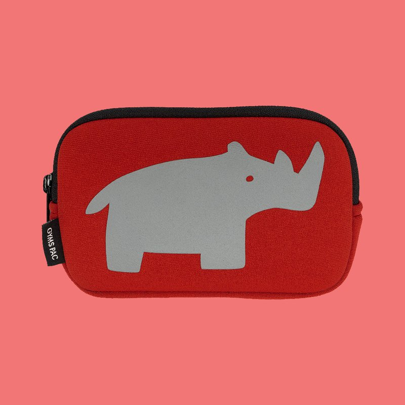Wild Animal Series Storage Bag Shockproof Bag Camera Bag Hard Disk Bag [Positive Red x Gray Rhino]