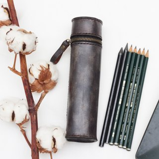 Cylinder vegetable tanned leather pencil case / Pen pouch - Dark grey color