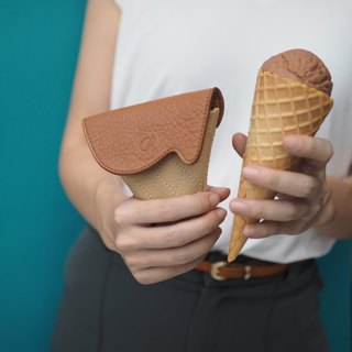 Soft-serve (Caramel) : Mini coin purse, brown purse