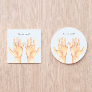 Need a hand? Man's hand ceramic coaster