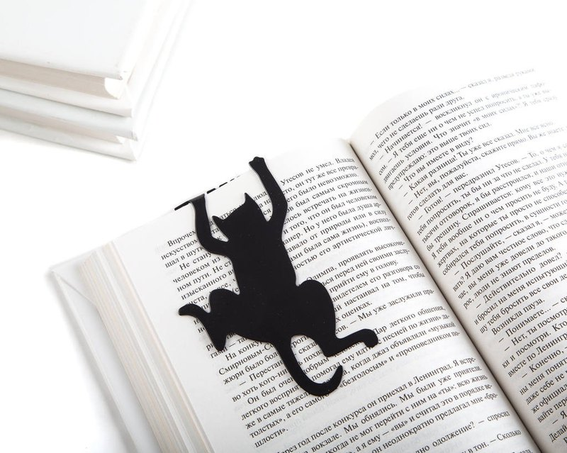 Metal book bookmark // Cat's Library // Free shipping worldwide //