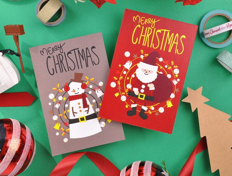 Christmas Santa Claus and Snowman Xmas Card Greeting Card Set 2 pieces - Set B