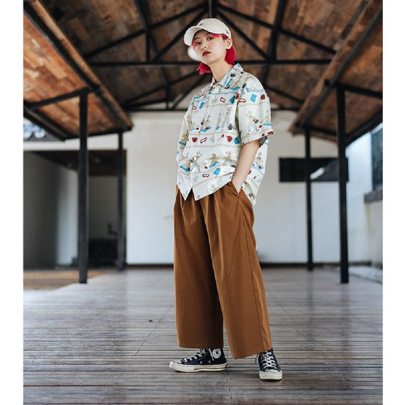 PROS BY CH Double pleated nine points trousers men's Japanese straight loose loose color casual wide leg pants overalls