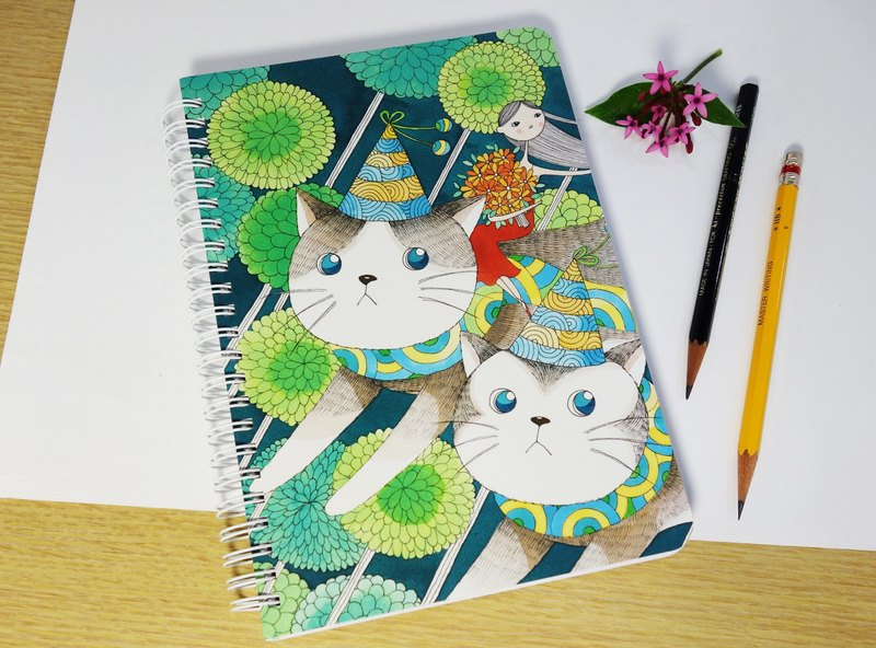 Hard shell illustration cover notebook - (night run cat elf) * inner page horizontal line (customized goods)
