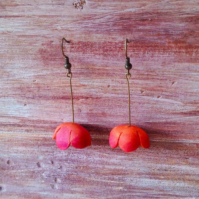 Umbrella Petal Earrings Orange Fishing Style Clipable Handmade Leather Kai Handmade Leather