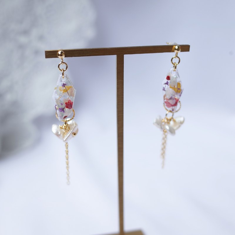 Eternal Garden Series of Flowers and Secrets Original Design Baroque Pearl Resin Earrings