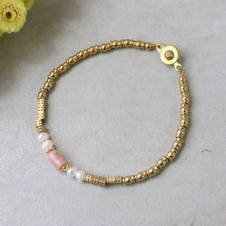 Rose stone natural stone pearl brass bracelet -0788 small grass