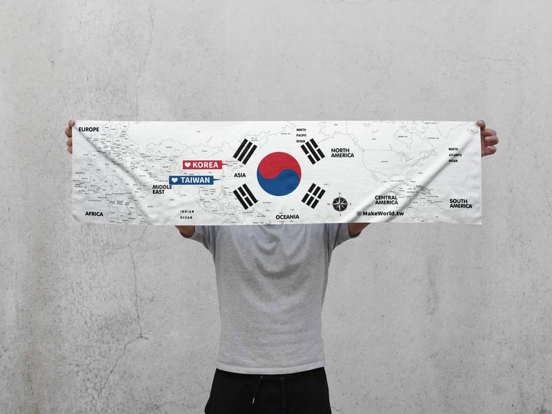 Make World map manufacturing sports towel (South Korea white)