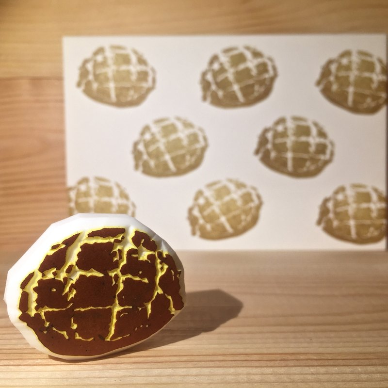 Handmade stamp with postcard(pineapple bun)